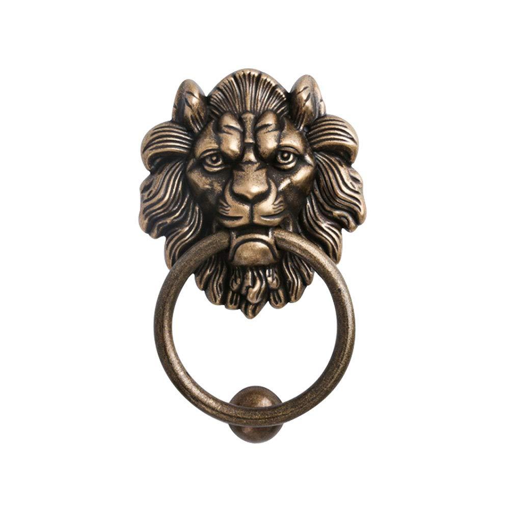 Lion Head Handle Pure Copper Handles Vintage Villa Door Handle Door Knocker (Bronze L23×W14.5cm)