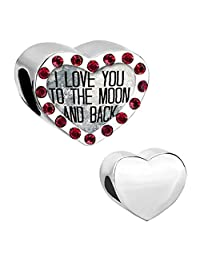 I Love You To The Moon and Back Heart Silver Plated pink Crystal Photo Beads For Charm Bracelet