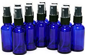 12, Cobalt Blue, 1 oz Glass Bottles, with Black Fine Mist Sprayers