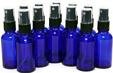 Vivaplex VCM1-12 12 Glass Bottles with Black Fine Mist Sprayer, 1 oz,  Cobalt Blue
