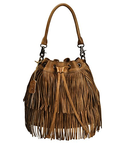 ZLYC Women Handmade Dip Dye Leather Bohemian Fringe Tassel Drawstring Bucket Bag, Brown
