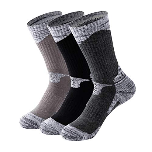 MAIBU 1 OR 3 Pairs Men Ski Socks Winter Warm Wicking Cushion Outdoor Running Hiking Walking Athletic Socks