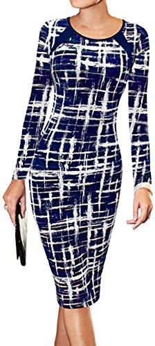 LunaJany Women's Long Sleeve Stripe Print Wear to Work Office Sheath Midi Dress M Navy