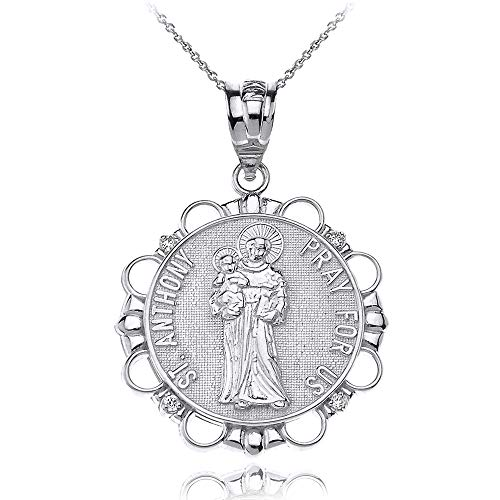Sterling Silver Round Saint Anthony Patron of Lost Articles Medal CZ Pendant Necklace, ()