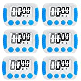 6 Pack Big Screen Digital Kitchen Timer Magnetic Back Minute Second Count Up Countdown