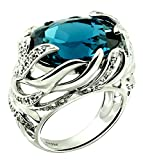 Sterling Silver 925 STATEMENT Ring GENUINE LONDON BLUE TOPAZ 16.90 Carats with RHODIUM-PLATED Finish (7)