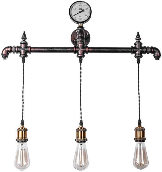 Lámpara de Soporte de Estilo Industrial Retro/Lámpara para Colgar en la Pared, Forma de Tubo de Agua de Metal, Accesorio de Iluminación de Pared, Soporte de Lámpara 3 * E27, 67 * 62 Cm, Metálico,