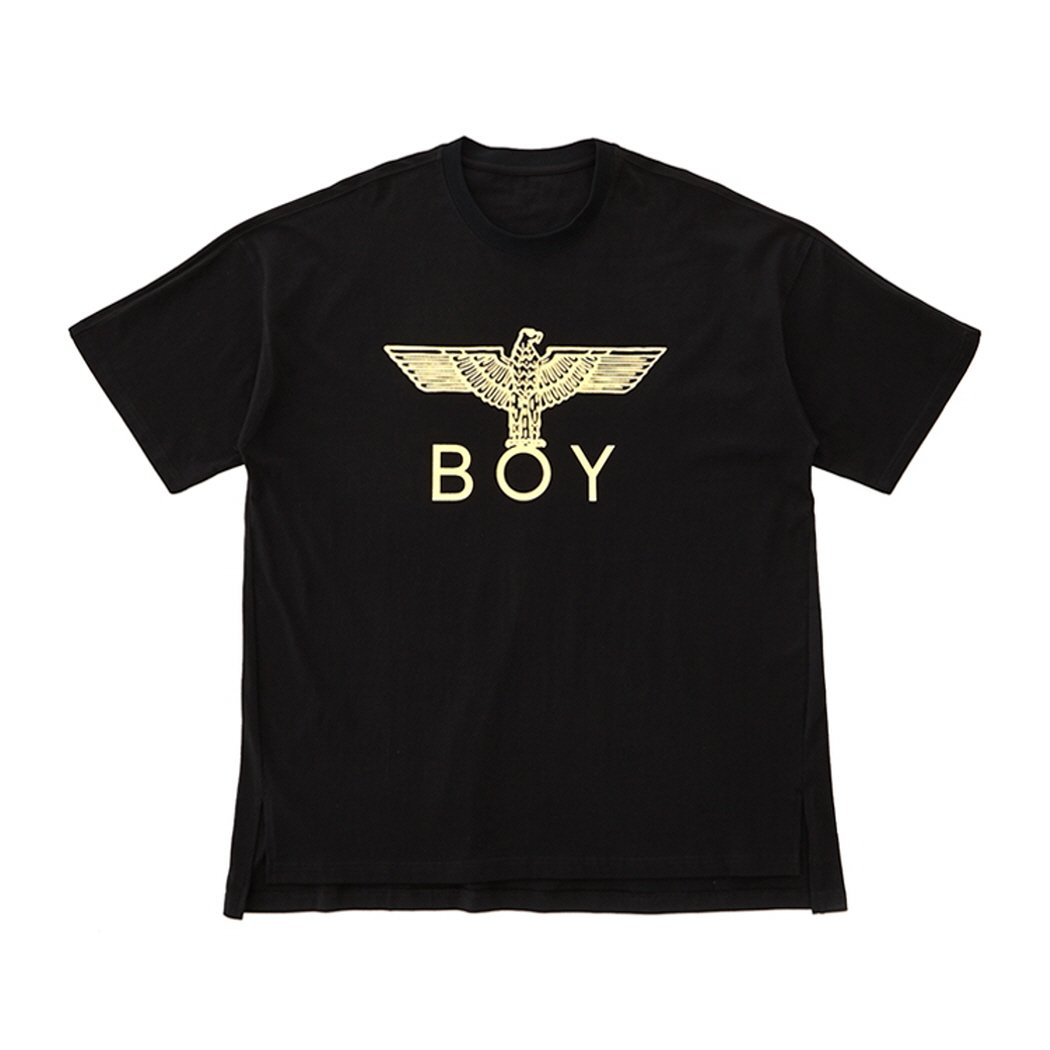 BOY London Unisex (S,M,L,XL) Wings Printed On Back Short Sleeves Tee- Black New_(BG2TS105) (Black, Medium)