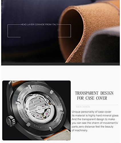 Luxury Men Automatic Mechanical Black Dial Luminous Waterproof Sapphire Genuine Brown Leather Watch (Brown Silver Black) by Fanmis (Image #5)