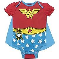 Body de disfraz de Warner Bros. Wonder Woman para bebé niña con capa roja (12-18 meses)