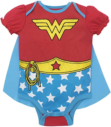 Warner Bros. Wonder Woman Baby Girls' Costume Onesie with Cape  Red (6-12 Months) -