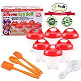 Egg Cooker - Silicone Egg Boiler AS SEEN ON TV Boil Eggs Without the Egg Shell, BPA Free Non Stick, Set of 6 Packs, Gift Including Silicone Brush, Spoon, Scraper, Egg Separator