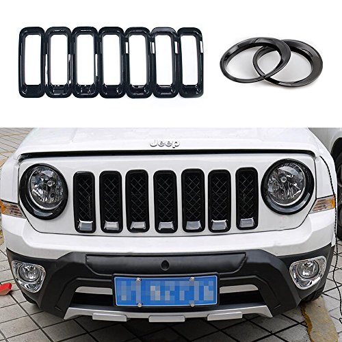 AVOMAR 9Pcs Front Grill Mesh Grille Insert Kit + Light Lamp Cover Trim For 2011-2016 Jeep Patriot (Front Grill Mesh Insert with Headlight Cover Trim 003)