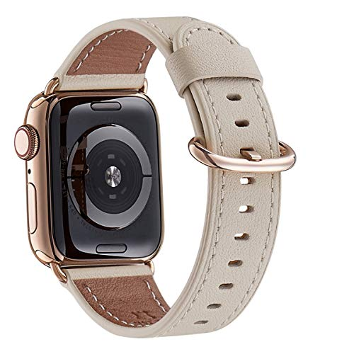 WFEAGL Compatible iWatch Band 40mm 38mm, Top Grain Leather Band with Gold Adapter (The Same as Series 4 with Gold Stainless Steel Case in Color) for iWatch Series 4/3/2/1 (Ivory Band+Gold Adapter)