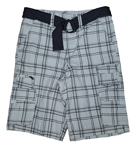 Canvas Shorts Plaid (Faded Glory White Plaid at The Knee Stacked Cargo Shorts - 28)