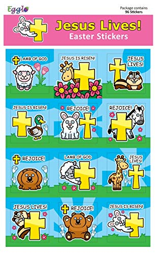 Jesus Lives! Easter Stickers (96 pack) for Children – for [Religious/Christian] Easter Egg Fillers, Baskets, and Toys ()