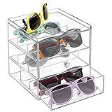 mDesign Stackable Organizer Holder for Eyeglasses, Sunglasses, Reading Glasses - 3 Drawers, Clear