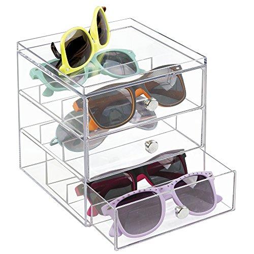 mDesign Stackable Organizer Holder for Eyeglasses, Sunglasse