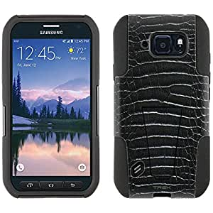 Samsung Galaxy S6 Active Hybrid Case Alligator Black Skin 2 Piece Style Silicone Case Cover with Stand for Galaxy S6 Active