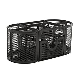 ROLODEX, Mesh Pencil Cup Organizer, Four Compartments, Steel, 9 1/3 x 4 1/2 x 4, Black