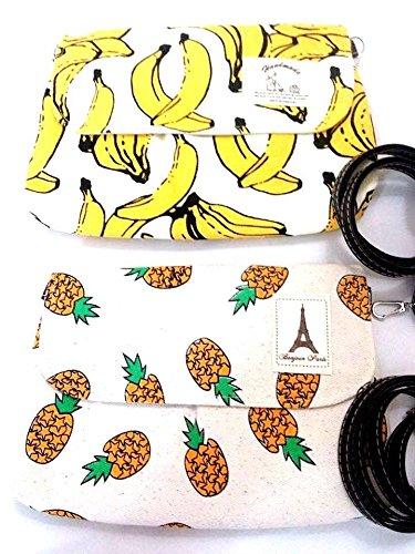 banane ananas borsa a tracolla della frizione di trucco borsa imbottita divertimento pantaloni a vita bassa fresco