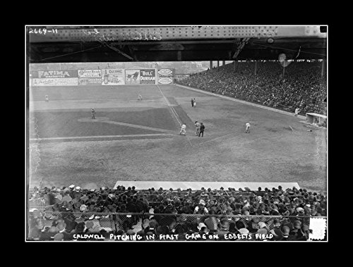 (8 x 10 All Wood Framed Photo Ray_Caldwell_Pitching_In_The_First_Game_At_Ebbets_Field,_April_5,_1913 )