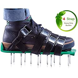 Lawn Aerator Shoes Inexpensive Grass Aeration Sandals - for Effective Treating, Aerate and Fertilize Lawn Soil - for a Greener and Healthier Grass or Yard - Metal Buckles and 8 Durable Straps