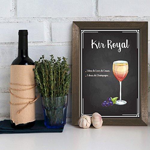 Quadro Decorativo Bebida Kir Royal 22x32 Moldura Marrom