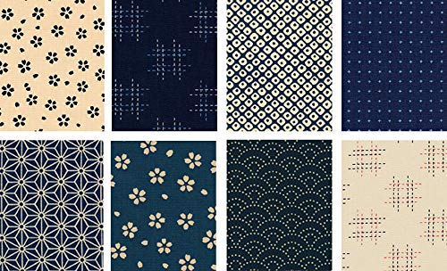 8 Japanese Import Sevenberry Kasuri Indigo Fat Quarter Fabric Collection #12 (2 Yards Total) from Debsews Fabric