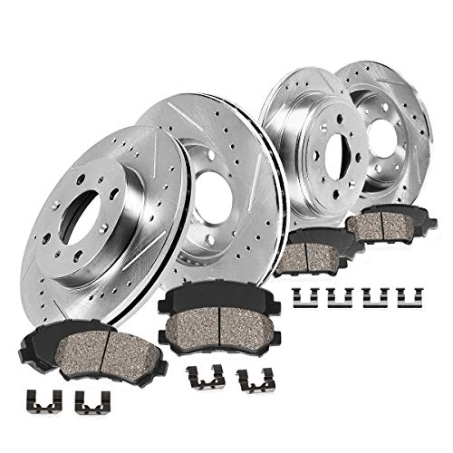 Callahan CDS02127 FRONT 254.7mm + REAR 251mm D/S 4 Lug [4] Rotors + Ceramic Brake Pads + Clips [ 1994-2002 MX5 Miata -