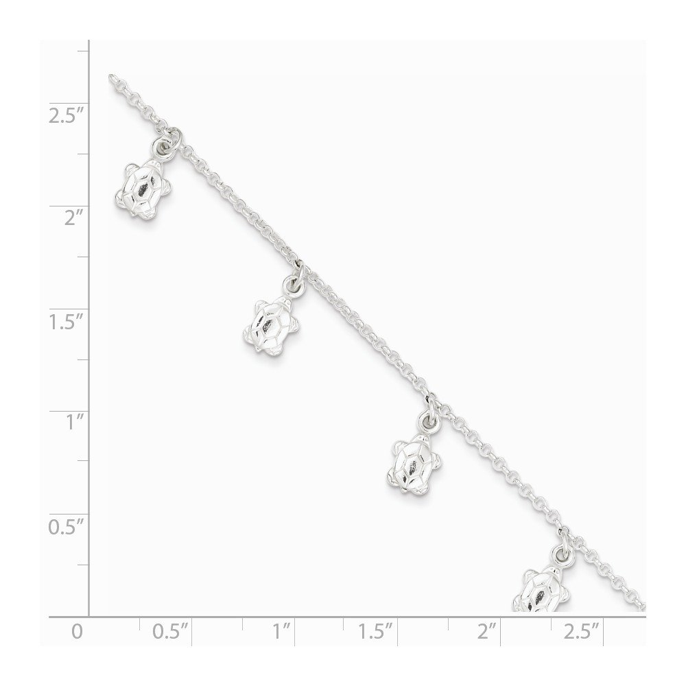 Anklet Sterling Silver Jewelry Themed Anklets Adjustable Polished Turtle 1in ext