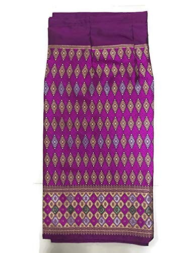 (Silk & Fibers Thai Fabric Traditional Asian Style Warp Skirt Sarong Free Size (with Hook for DIY) (#2 P))