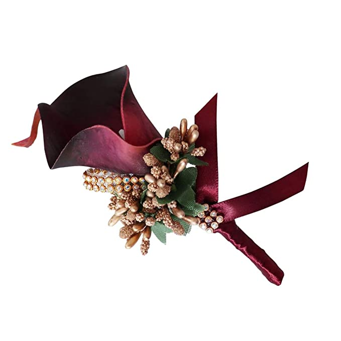 FLAMEER Boutonniere Novia Ramillete de Muñeca Lirio de Cala Ornamentos de Disfraz - Vino Rojo