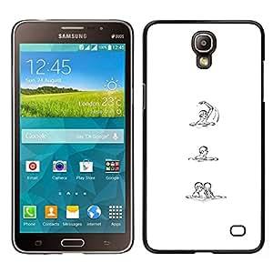 Caucho caso de Shell duro de la cubierta de accesorios de protección BY RAYDREAMMM - Samsung Galaxy Mega 2 - Blanco Negro Sketch Amor Mujer Hombre