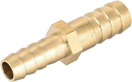 2pcs Adaptador de conector recto para manguera de identificaci/ón de lat/ón 10mm x 4mm Barb Sourcingmap