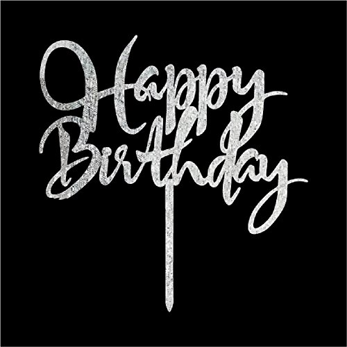 Happy Birthday Cake Topper Decor Adult Birthday Party Decoration Supply Sliver ()