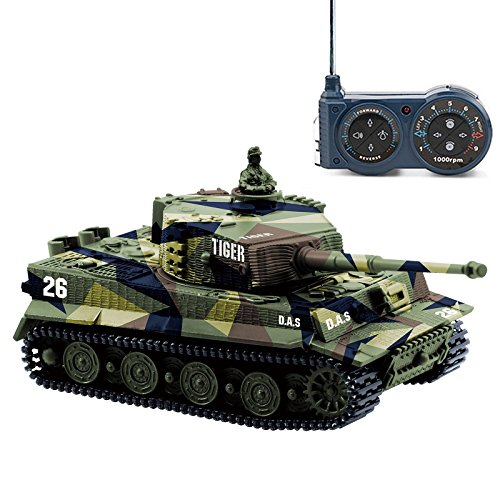 Cheerwing 1:72 German Tiger I Panzer Tank Remote Control Mini RC tank with Sound, Rotating Turret and Recoil Action When Cannon Artillery Shoots ()