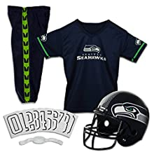 Franklin Sports Deluxe NFL-Style Youth Uniform – NFL Kids Helmet, Jersey, Pants, Chinstrap and Iron on Numbers Included – Football Costume for Boys and Girls, Seattle Seahawks, Medium