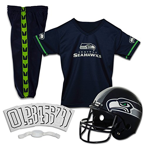 (Franklin Sports Deluxe NFL-Style Youth Uniform - NFL Kids Helmet, Jersey, Pants, Chinstrap and Iron on Numbers Included - Football Costume for Boys and Girls)