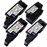 Triple Best Compatible Set of 4 c1660w Toner Cartridge for Dell 4G9HP 7C6F7 Black DWGCP 5R6J0 Cyan V3W4C 4J0X7 Magenta, V53F6 XY7N4 Yellow Toner Cartridges used with Dell 1660 C1660 C1660W C1660cnw