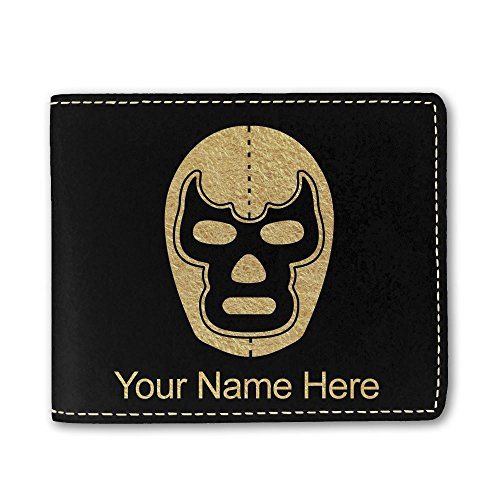 Faux Leather Wallet, Luchador Mask, Personalized Engraving Included (Black) (Cena John Wallet)