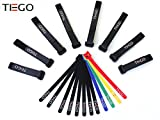 [20 Pack] Hook and Loop Reusable Fastening Cable Tie Down Straps, Adjustable ...
