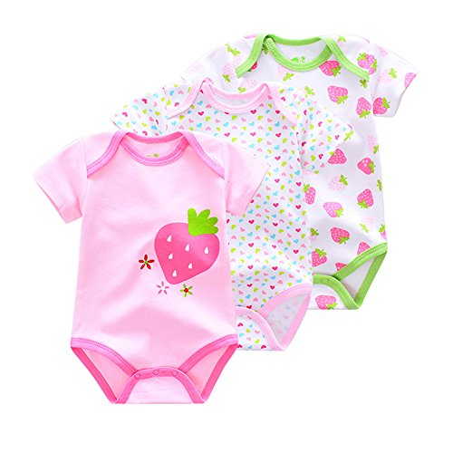 [FlyBear Newborn Infant Baby Boy Girl Short Sleeve Bodysuit 3 Pces Clothing Romper Outfits Jumpsuit Playsuit Uniforms Pink Strawberry 6] (Cute Army Outfits)