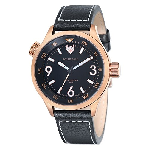 Mens Swiss Eagle Sergeant IP Rose-plated Black Dial Watch