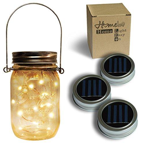 Homeleo 3 Pack Solar Mason Jar Lid Insert, Warm White LED Fairy Mason Jar Lantern for Patio Garden Porch Decoration (Lantern Patio)