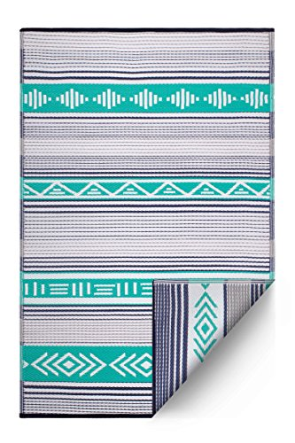 Fab Habitat Ibiza Reversible, Indoor/Outdoor Weather Resistant Floor Mat/Rug, 4' x 6', Ibiza-Green Multi - Multi Outdoor Rug