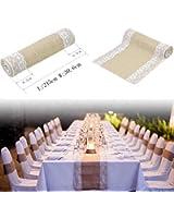 Chemin de table Vintage Bordure en Dentelle Décoration pour Maison Mariage Burlap Nappes Decoration(L)