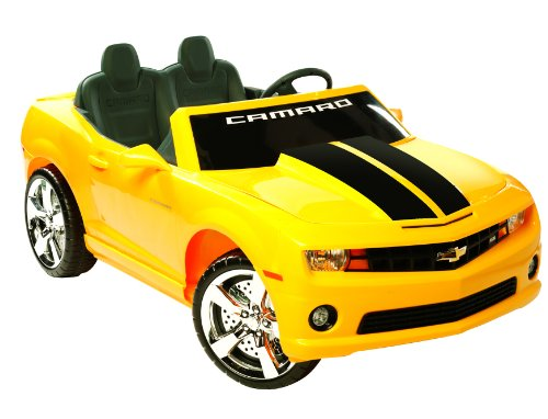 amazoncom kid motorz 12v two seater chevrolet racing camaro ride on car yellow toys games