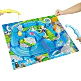 Water Fishing Game Toy Race Track Set Learning Education Tool Gift Indoors Outdoors for Children Toddlers Kids Boys Girls in Summer, Blue