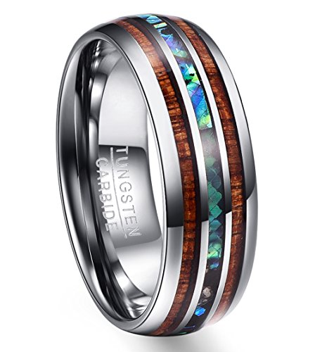 Vakki 8mm Men's Hawaiian Koa Wood & Abalone Shell Tungsten Band Ring Polished Domed Wedding Rings Size 11.5